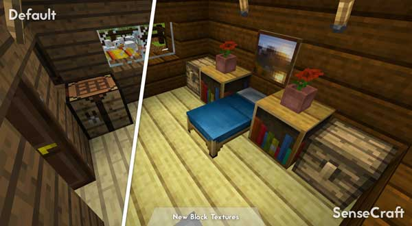 Image where we can see what the interior of a house looks like with the SenseCraft texture pack.