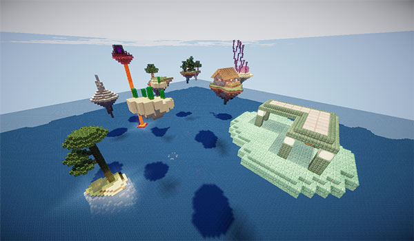 Image where we can see a set of small floating islands, with varied resources, that we will find in the SkyBlock: Advanced map.