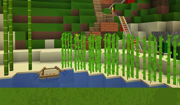 Image where we can see how a lake is decorated with the Soboku texture pack.