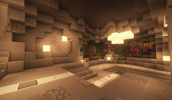 Image where we can see the interior of a cave decorated as a dwelling, using the textures from the Soboku Texture Pack 1.15, 1.14 and 1.13.