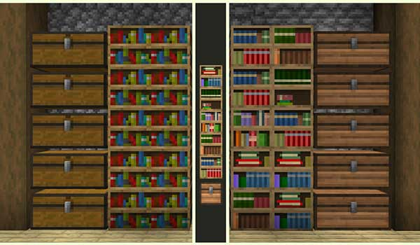 Image where we can compare the appearance of the default libraries and the libraries decorated with Stay True Texture Pack.