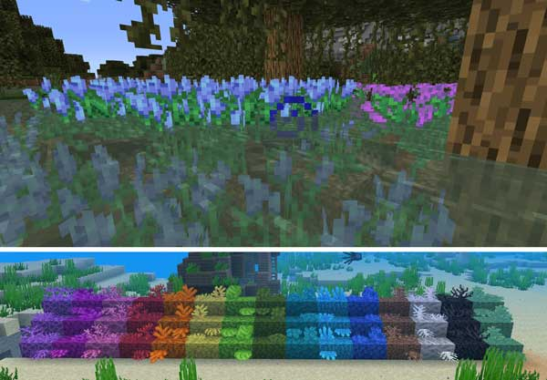 Image where we can see some examples of the new content, focused on water areas, offered by the Upgrade Aquatic mod 1.15.2.