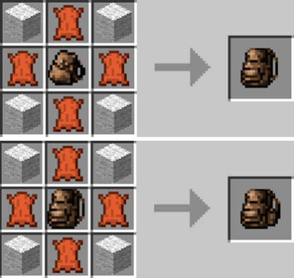 Image where we can see the capacity improvement process for the backpacks offered by the Useful Backpacks mod.