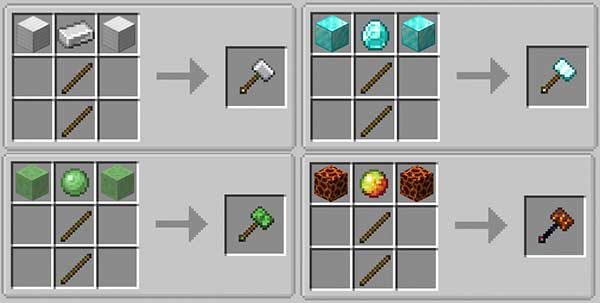 Image where we can see some examples of variants of hammers that we will be able to manufacture with the Vanilla Hammers mod.