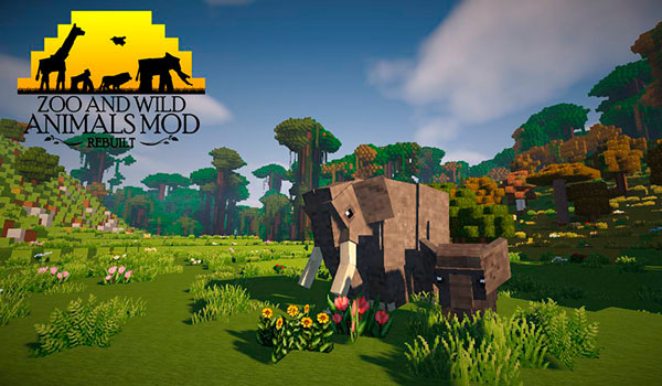 Image where we can see an elephant and its calf, both animals added to the game by the mod Zoo & Wild Animals 1.12.2.