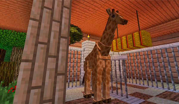 Image where we can see one of the giraffes added by Zoocraft Discoveries 1.12.2, inside an enclosure.