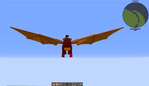 Image where we can see a player mounted, and flying, on one of the dragons from the Dragon Mounts: Legacy mod.