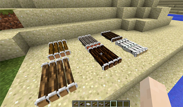Image where we can see the six types of rafts that we can make with the Just A Raft Mod.