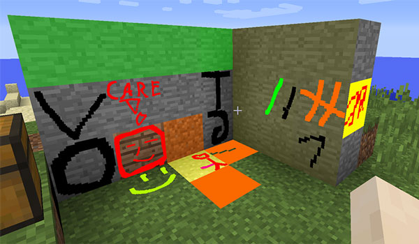 Image where we can see some examples of blocks painted with the MC Paint Mod.