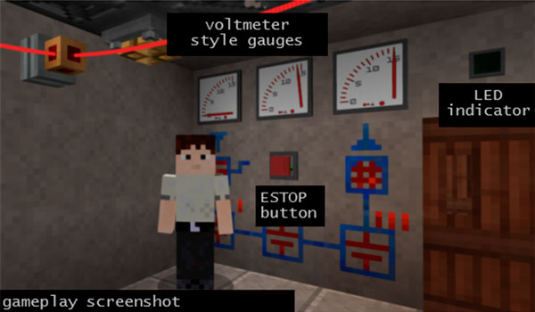 Image where we can see some of the objects that we can use with the Redstone Gauges and Switches mod.