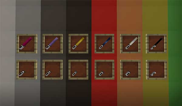Image where we can see the different lightsabers that we can manufacture with the SurvivalPlus Lightsabers Mod.