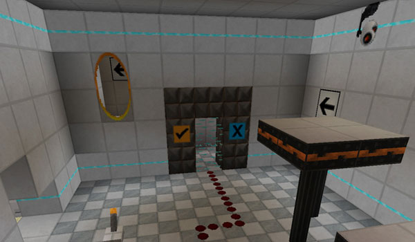 example of the room decorated by the precisely portal texture pack.