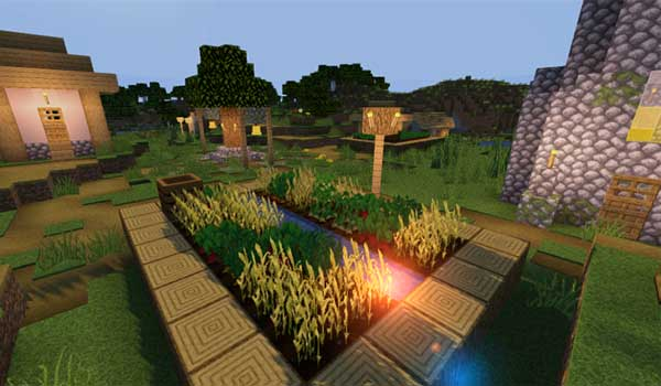 Image where we can see how a village will look like with the Compliance texture pack.