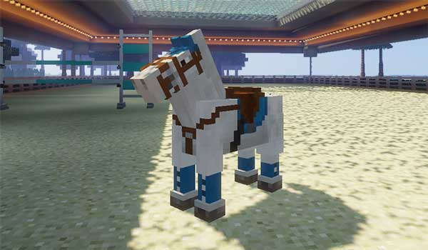 Image where we can see a horse with one of the tack sets offered by the Horse Tack Mod.