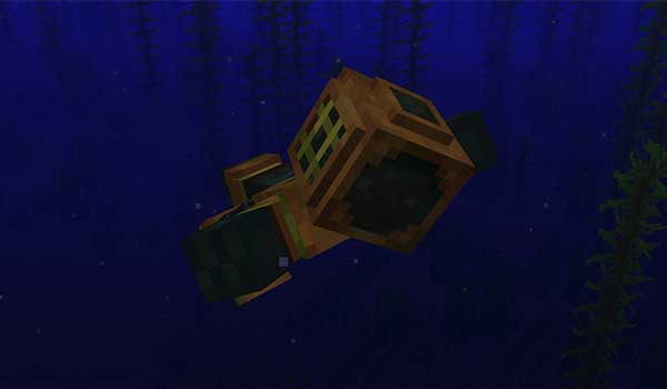 Image where we can see a player swimming with the diving suit offered by the Scuba Gear Mod.