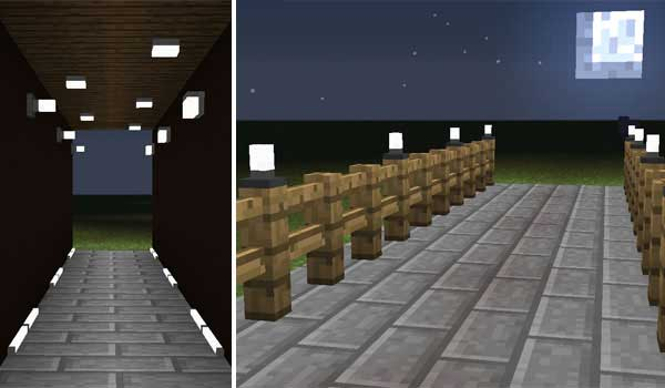 Composite image where we can see the different types of lights and lighting elements that the Simply Light Mod offers us.