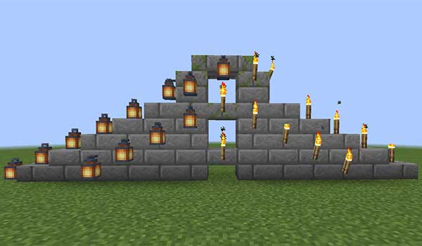 Image where we can see an example of the new locations where we can place torches and lanterns with the Torch Slabs Mod.