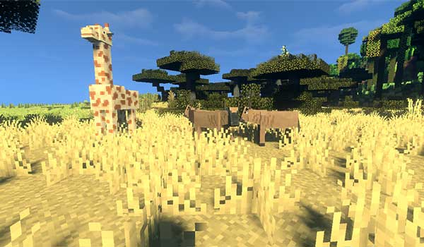 Image where we can see the giraffes and oxen added by the Ambient World Mod.