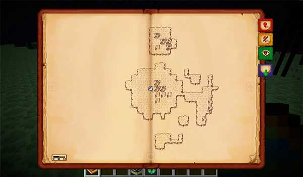 Image where we can see how the new map format offered by the Antique Atlas Mod.