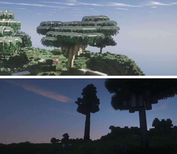 Image where we can see some of the visual effects on the leaves of the trees generated by the Better Foliage Mod.