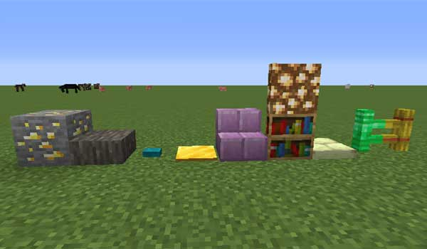 Image where we can see how are the new shapes and formats of building blocks that we can make with the BlockCarpentry Mod.