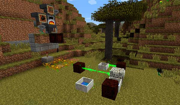 Image where we can see one of the magical and technological systems that we can create with the Botania Mod.
