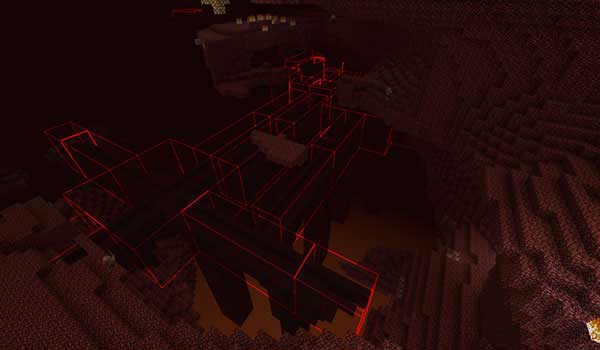 Image where we can see how the Bounding Box Outline Mod highlights a structure in the Nether dimension.