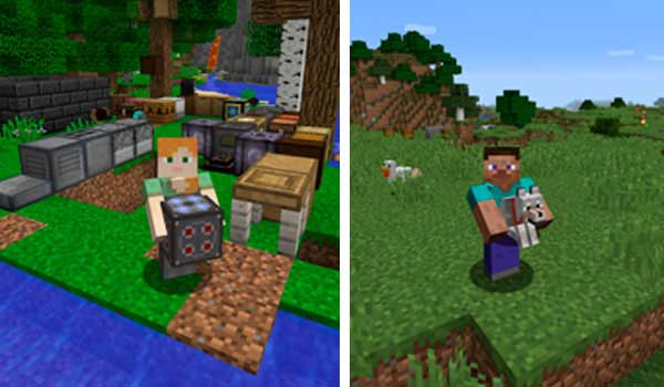 Composite image where we can see a character holding a wolf and another character holding a machine, thanks to the Carry On Mod.