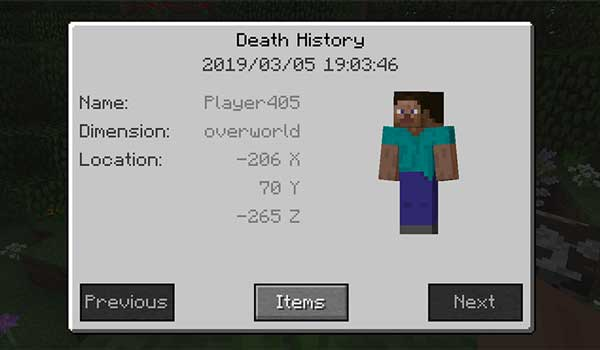 Image where we can see an example of the death history offered by the Corpse Mod.