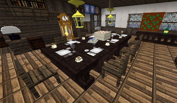 Example image where we can see the interior of a house, especially the dining room, with the decorative objects of the DecoCraft Mod.