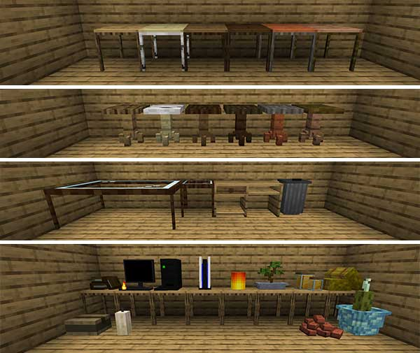Image where we can see an exposition of the different decorative elements offered by the Decoration and Furniture Mod.