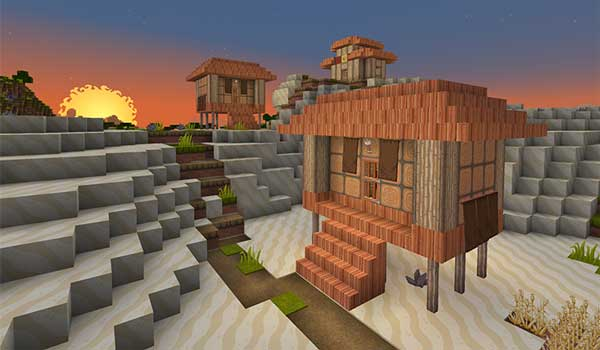 Image where we can see a small village decorated by Dragon Dance Texture Pack.