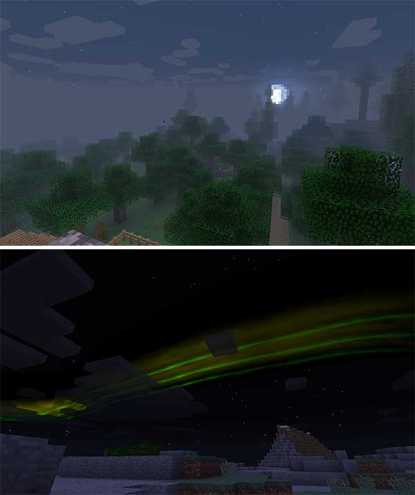 Composite image where we can see the fog effect and the northern lights added by the Dynamic Surroundings Mod.