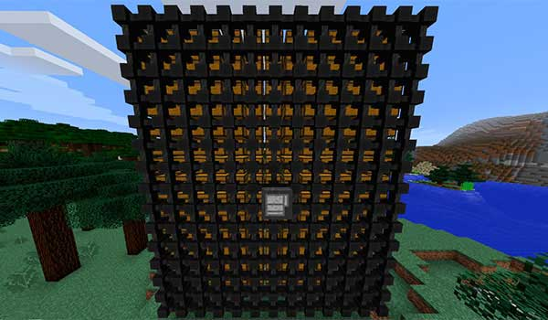 Image where we can see a large storage system, created with the Ender-Rift Mod.