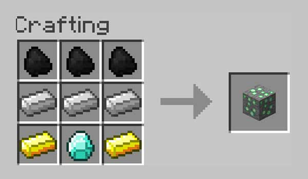 Image where we can see what materials we will have to place in the crafting table to make the experience block added by the Exp Ore Mod.