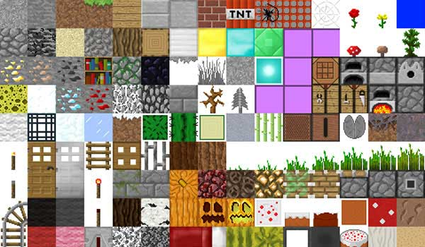 Image of several blocks of the game, decorated with the Faithful texture pack.