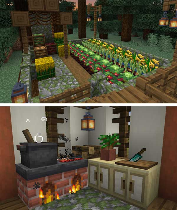 Image where we can see some of the elements that we can make, and use, with the Farmer's Delight Mod.