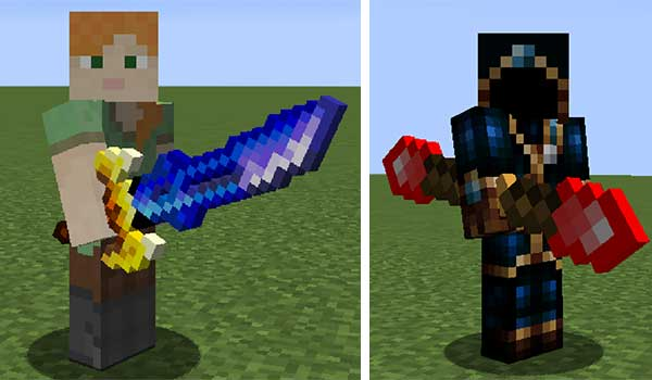 Image where we can see some of the new weapons that we can make with the Fun Items Mod.