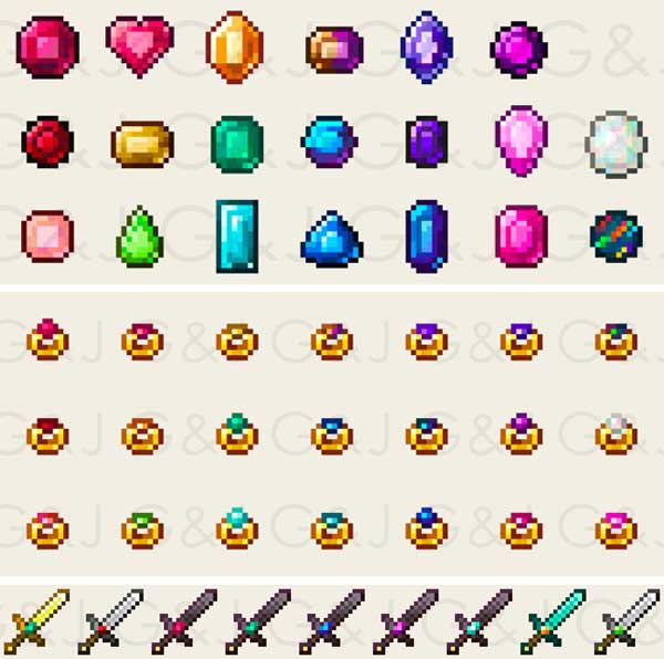 Image where we can see some of the elements that we can have after installing the Gems & Jewels Mod.