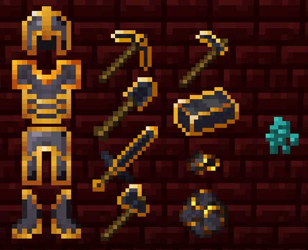 Image where we can see all the new character equipment that we can build with the Gilded Ingot Mod.