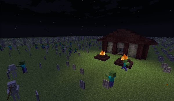 Image where we can see how it looks and the enemies that are generated, from the surface of the world, one of the mausoleums added by the Gravestone Mod.