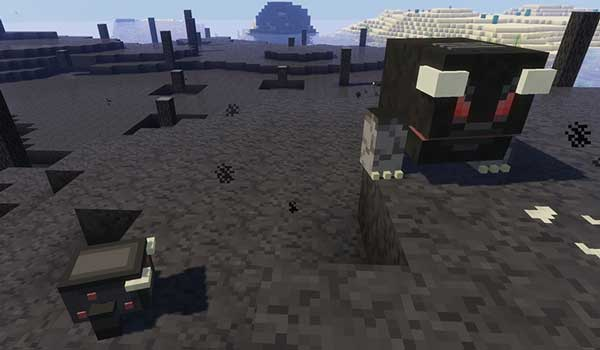 Image where we can see some of the new creatures and a new biome, both added by the Hexy Advance Mod.