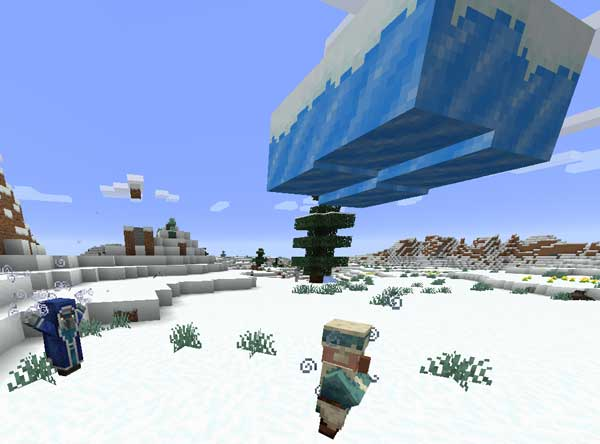 Image where we can see how an Iceologer summons an ice cloud over a villager, thanks to the Ice Ice Ice Baby Mod.