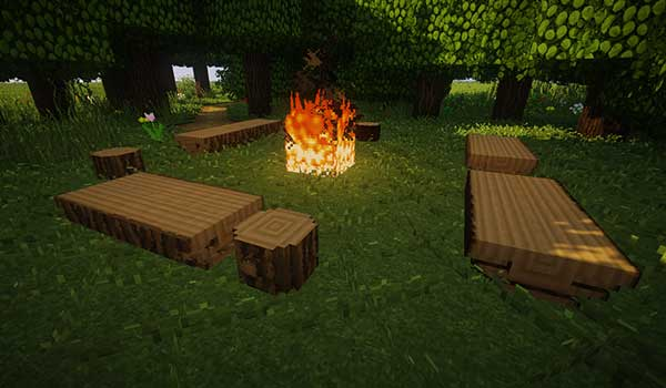 Image where we can see wooden benches in a camping area, all generated by the Iron Age Furniture Mod.