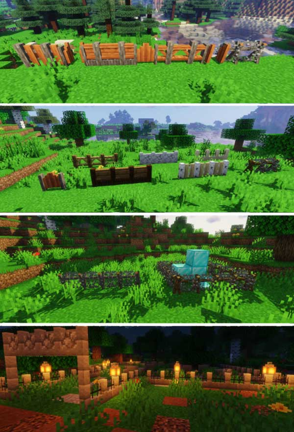Image where we can see all the variants of walls and fences that we can build with Macaw's Fences and Walls Mod.