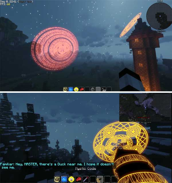 Image where we can see a couple of examples of the special effects spells that we can use with the Mahou Tsukai Mod.