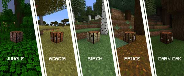 Image where we can see the different types of wood that we can make with the More Crafting Tables Mod.
