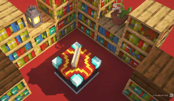 Image where we can see how the libraries and the enchantment table will look like with the Nautilus3D Texture Pack installed.