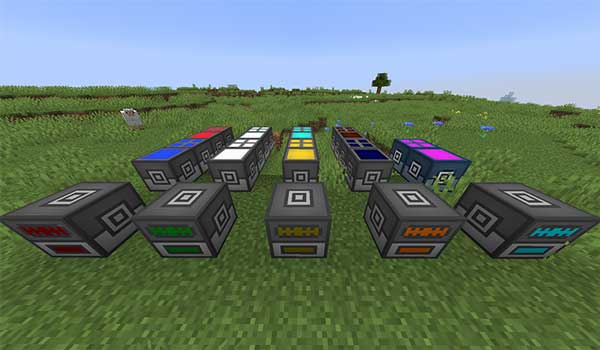 Image where we can see an exhibition with the different machines offered by the Omega Craft Mod.