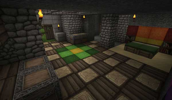 Image where we can see the interior of a house, decorated with Ovo's Rustic textures.